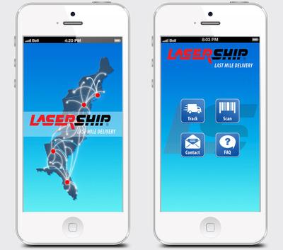 'LaserShip' app screens.  (PRNewsFoto/LaserShip)