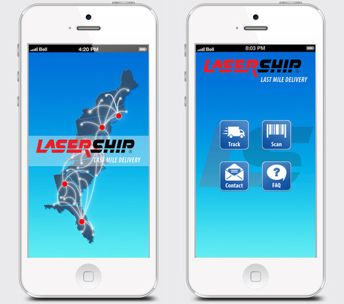 'LaserShip' app screens.  (PRNewsFoto/LaserShip)