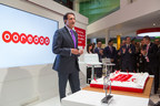 His Excellency Sheikh Abdulla Bin Mohammed Bin Saud Al Thani, Chairman, Ooredoo Group, celebrates Ooredoo's 100 million customer milestone at Mobile World Congress