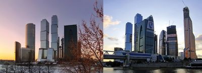 """""""Europe's tallest towers designed by Dutch Architect Erick van Egeraat. Tothe left Capital City Towers and on the right the top of Mercury CityTower, the present record holder with 338,8 meters."""" Photo from the sites: openbuildings.com and 3yearsinmoscow.blogspot.nl"""