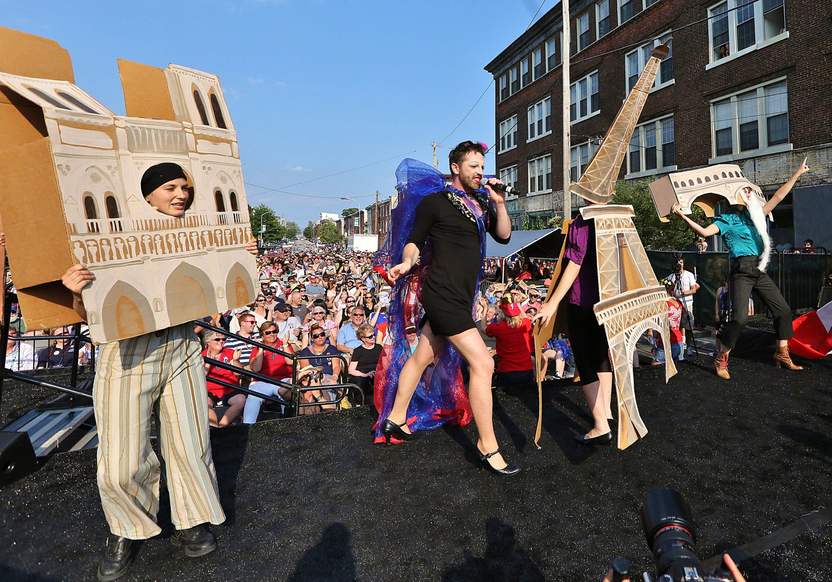 Eastern State Penitentiary's Bastille Day celebration in Philadelphia features free theatrical performance by The Bearded Ladies as thousands of Tastykakes fly from the prison's towers. Photo: Daryl Moran