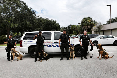 Jupiter Florida K-9 officers receive bullet and stab protective vests from PetArmor, makers of vet-quality flea and tick protection.(PRNewsFoto/PetArmor)