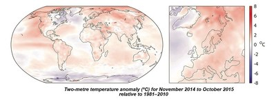 Two-metre temperature anomaly (°C) for November 2014 to October 2015 relative to 1981-2010 (PRNewsFoto/Copernicus)