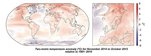 Two-metre temperature anomaly (°C) for November 2014 to October 2015 relative to 1981-2010 ...