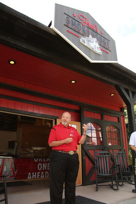 "Seventh generation master distiller and great-grandson of Jim Beam, Frederick ""Fred"" Booker Noe III, offers a toast to guests at the grand opening of his new namesake counter-service restaurant, Fred's Smokehouse. The cafe is located adjacent to the Jim Beam American Stillhouse on the grounds of Beam's flagship distillery in Clermont, Ky., and is inspired by the bold, rich flavor of some of Beam's best-selling whiskies.  (PRNewsFoto/Beam Inc.)"