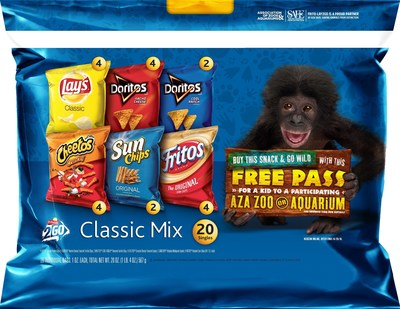 Frito-Lay 2 Go and Quaker Chewy are partnering with the Association of Zoos and Aquariums (AZA) to offer free kid's passes to participating AZA-accredited facilities nationwide with the purchase of a specially marked Frito-Lay 2 Go or Quaker Chewy Bar Variety Pack.
