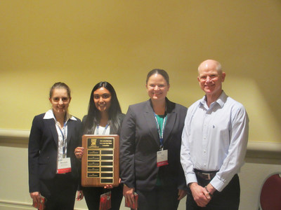 For a second year in a row, students from Rutgers Business School's supply chain management program won the Institute for Supply Management's national case competition. Pictured from left: Rutgers Business School students, Marchela Stancheva, Sonali Shah and Diana Harriman, with instructor Paul Goldsworthy.