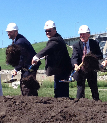 Voith Hydro's Director of Sales and Marketing Carl Atkinson participates in the groundbreaking ceremony for the Red Rock Hydroelectric Project located at the Lake Red Rock Dam near Pella, IA. (PRNewsFoto/Voith Hydro)