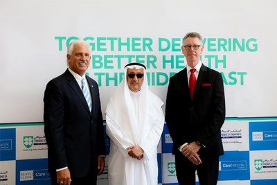 Left to Right: Mr. Peter Makowski, CEO, American Hospital Dubai;  Mr. Saeed Almulla, Chairman of the Board, American Hospital Dubai; Dr. David Hayes, Medical Director for the Affiliation Practice Network, Mayo Clinic Care Network (PRNewsFoto/American Hospital Dubai)