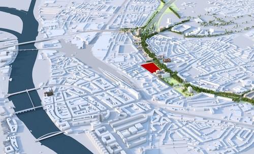 Ballast Nedam en het Belgische ViRiX betrekken het voormalige KPN-terrein in het centrum van Maastricht Oost bij de ontwikkeling van de toekomstige Groene Loper, de bovengrondse herinrichting van de A2-tunnel die eind 2016 in gebruik zal worden genomen. (PRNewsFoto/Ballast Nedam) (PRNewsFoto/Ballast Nedam)