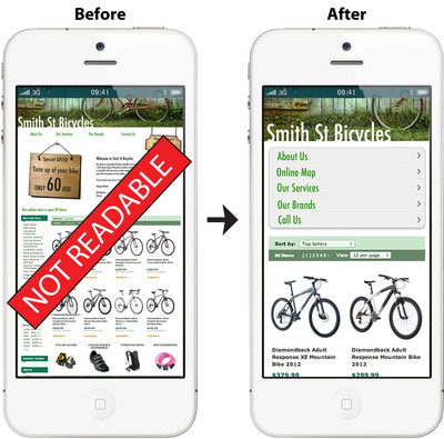 An example of a mobile website before and after bMobilize technology was used.  (PRNewsFoto/bMobilized)