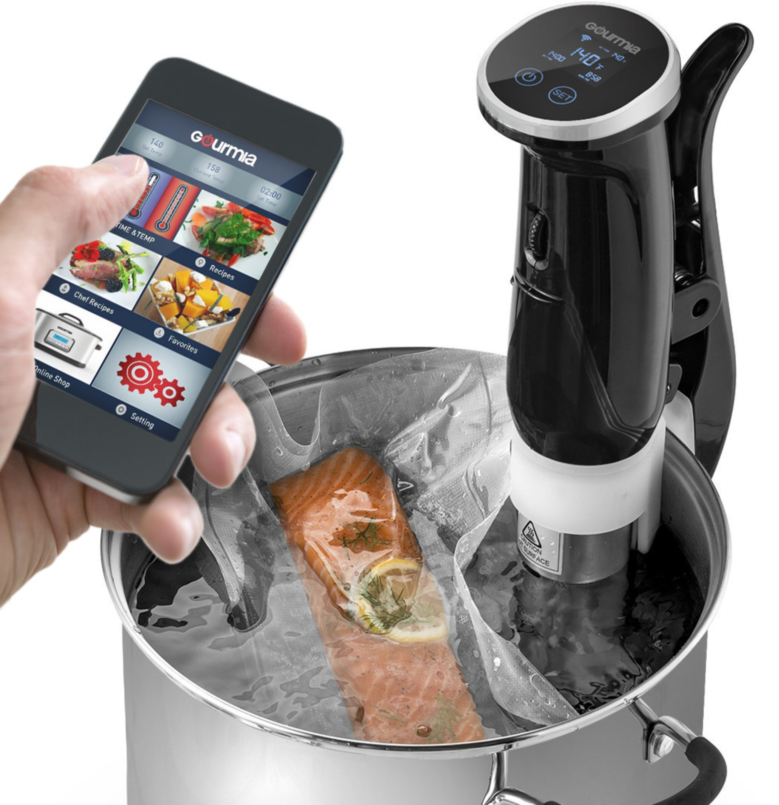 The WiFi and IoT enabled Sous Vide Pod with corresponding app from Gourmia.