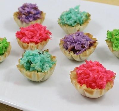 Pastel Macaroon Phyllo Tartlets