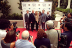 Left to Right: Leron Gubler, Hollywood Chamber of Commerce president, Los Angeles City Councilman Tom LaBonge, actress and event host Dyan Cannon, actress Kate Linder, Robert Klein, Klein-Financial chief, Los Angeles Councilman Mitch O'Farrell. (PRNewsFoto/Los Angeles City Council/Tom...)