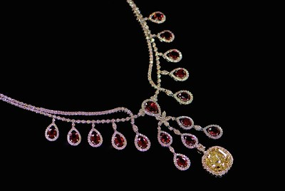Johnathon Arndt, Carrie Underwood - The Heartbeat Ruby Necklace with the Firefly Yellow Diamond