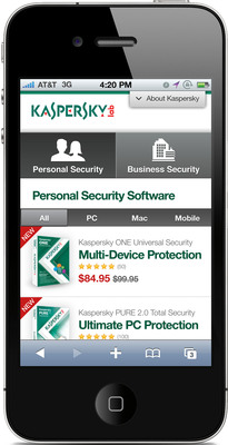 Kaspersky Lab U.S. Mobile Website Personal Security Landing Page