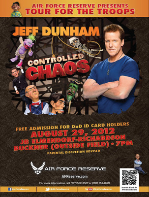 Air Force Reserve to present comedian Jeff Dunham for our servicemen and women at Joint Base Elmendorf-Richardson