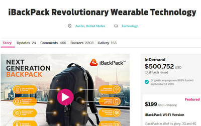 iBackPack Tops $500k on Crowdfunding Site Indiegogo