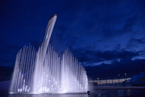 U.S. FIRM, WET, CREATES OFFICIAL FOUNTAIN FOR 2014 SOCHI WINTER OLYMPIC GAMES - The Waters Of Olympic Park Unveiled at Opening Ceremonies. (PRNewsFoto/WET) (PRNewsFoto/WET)