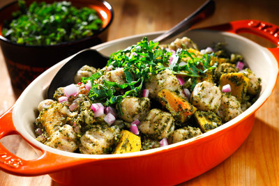 """Hearty, whole grain gnocchi and the """"superfood"""" kale lay the foundation for this nutrient-rich comfort dish. The winning combination of canola oil and walnuts give the meal two of the best sources of plant-based omega-3 fat available. Healthy convenience foods such as pre-packaged, whole grain gnocchi and frozen, cubed butternut squash save time in preparing the dish."""