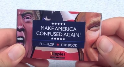 "The two most unpopular candidates in U.S. Presidential history have been commemorated in a thumb-powered flip book entitled ""Tough Decision 2016,"" created by Flippies Custom Flip Books."