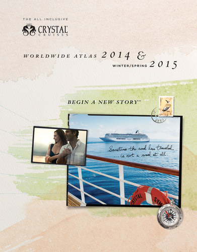 "The front cover of Crystal Cruises' new 2014-early 2015 Atlas utilizes the same travel journal style as the luxury line's award-winning brand campaign, ""Begin a New Story.""  (PRNewsFoto/Crystal Cruises)"