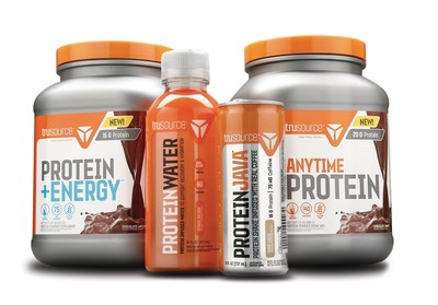 trusourceTM products are formulated to deliver high quality protein in unique, user-friendly solutions for any time of day, and any fitness occasion. Pictured [left to right] trusource(TM) Protein Energy, Protein Water, Protein Java and Anytime Protein.