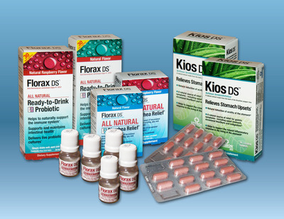 Hebron U.S.A.'s Florax DS and Kios DS offer chemical-free relief from gastrointestinal symptoms. Florax DS is formulated using a form of probiotic yeast to help relieve GI symptoms while Kios DS is based on ingredients found in the forests of Brazil.  (PRNewsFoto/Hebron U.S.A. Corp.)