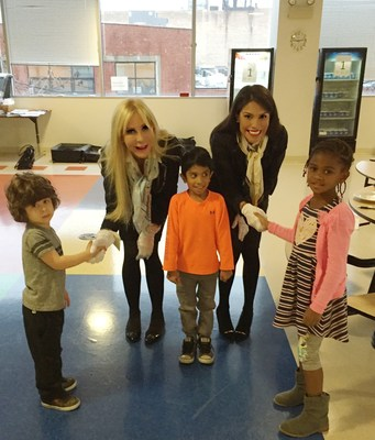Elementary Etiquette Society founder Celeste Jones (left) with students at British International School of Chicago, Lincoln Park.