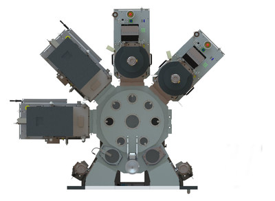 Top view of an EVG(R)580 ComBond(R) automated high-vacuum wafer bonding system. The integrated cluster system enables fully automated wafer transport, handling and processing in high vacuum.