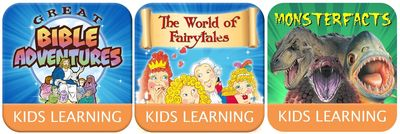 Improve your children's reading, speaking and counting skills and spark their inner creativity and learning ability with Great Bible Adventures, Monster Facts and The World of Fairytales Apps.