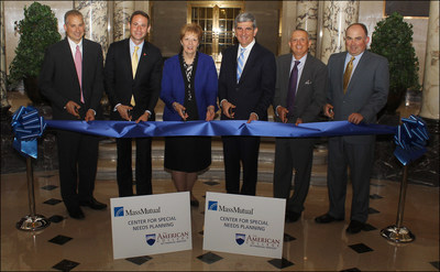 Left to right: Nick Fyntrilakis, Vice President, MassMutual Community Responsibility; Adam Beck, Interim Director, The American College MassMutual Center for Special Needs; Joanne Gruszkos, Director of the MassMutual SpecialCare Program; Mike Fanning, Executive Vice President, U.S. Insurance Group, MassMutual; Robert R. Johnson, President and CEO of The American College; John Vaccaro, Senior Vice President, MassMutual Sales & Distribution.