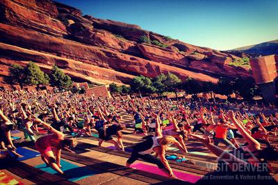 Yoga on the Rocks, Red Rocks Amphitheater. (PRNewsFoto/VISIT DENVER, CVB)