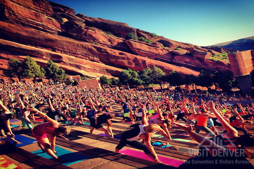 Yoga on the Rocks, Red Rocks Amphitheater. (PRNewsFoto/VISIT DENVER, CVB)