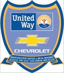 This commemorative badge will appear on the match shirts during the Aug. 2 game between Manchester United and Real Madrid at Michigan Stadium. Special ticket packages will be auctioned to support United Way for Southeastern Michigan. (PRNewsFoto/General Motors)