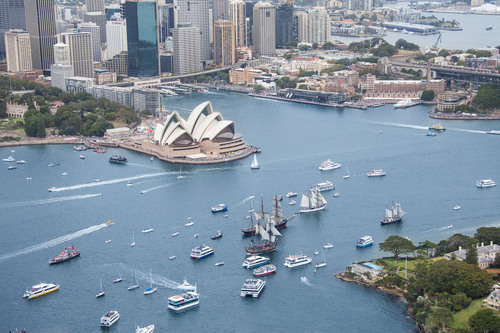 26/1/2014. Australia Day Sydney. Sydney Celebrates Australia Day as Tall Ships and Ferries sail across Sydney ...