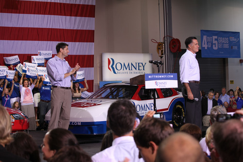 Presumptive presidential candidate Mitt Romney and vice presidential candidate Paul Ryan visited NASCAR Technical Institute in Mooresville, North Carolina, during a stop on their four-state bus tour.  (PRNewsFoto/Universal Technical Institute)