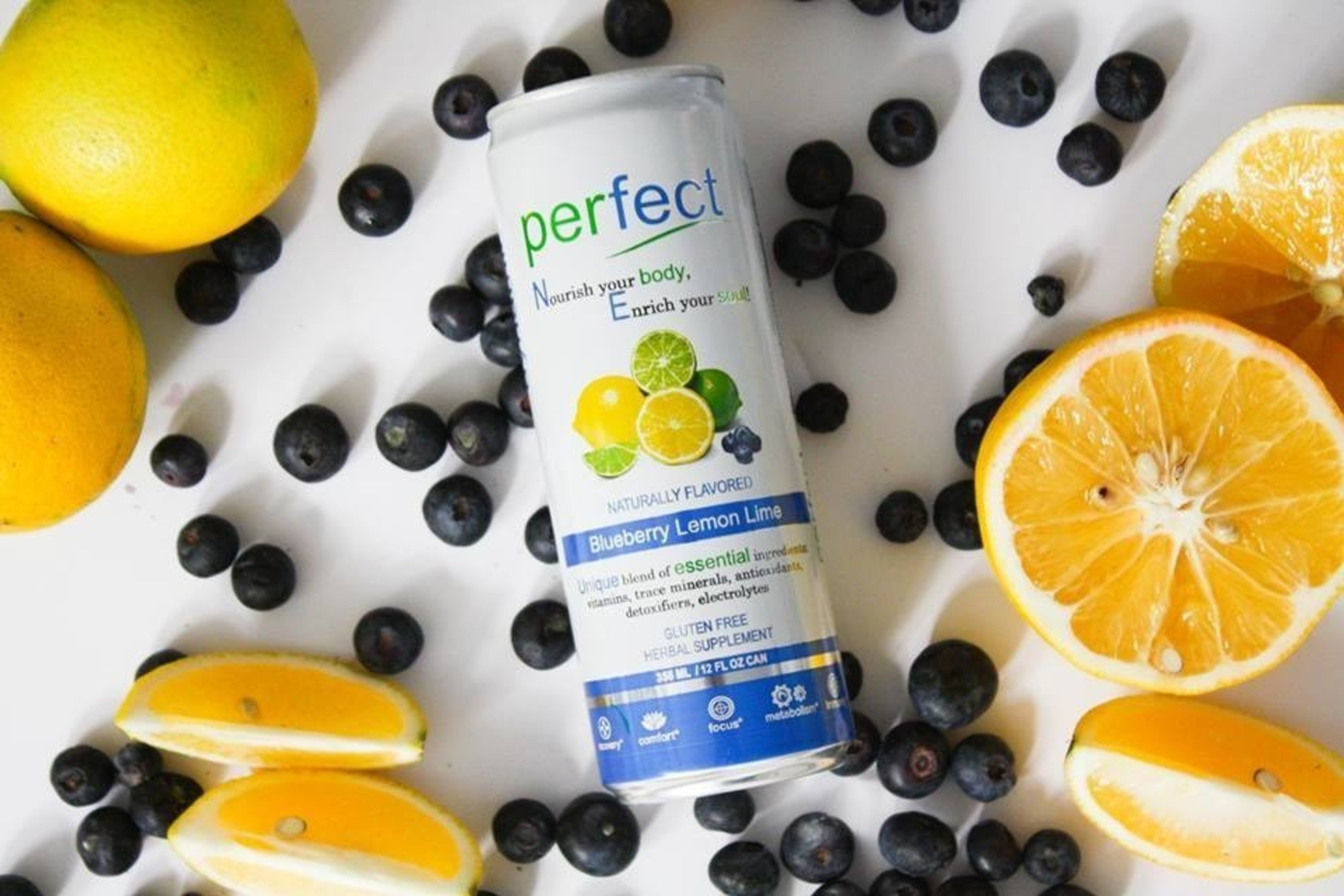 Ball Corporation manufactured the Natural Choice Beverage's Perfect blueberry lemon lime 12-ounce sleek can.