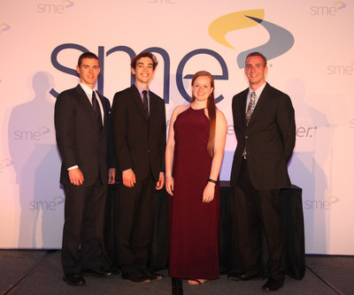 The SME Education Foundation recently awarded several students pursuing postsecondary education in manufacturing or a related field. From left to right: James Biaglow, Josh Cukier, Rebecca Kurfess and Tyler Rigby.