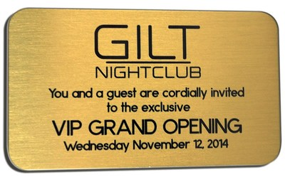 Signature Plates helps Gilt Nightclub make a lasting first impression. Custom VIP Card made by Signature Plates based in Mesquite, Texas.