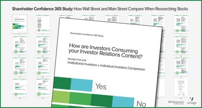 "New Report Compares How Wall Street vs. Main Street Investors Research Stock Opportunities. ""Shareholder Confidence 365 Study"" guides public companies on the tactical and practical aspects of communicating with shareholders."