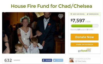 House Fire Fund for Chad/Chelsea, https://www.gofundme.com/drnrur5g