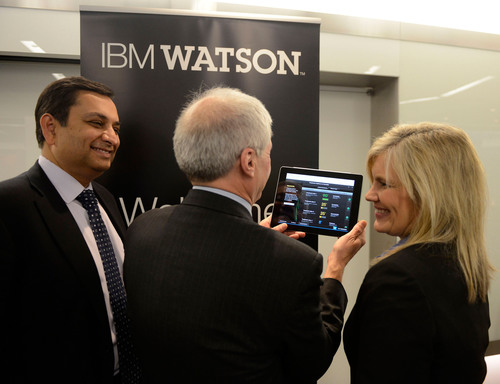 Manoj Saxena, IBM General Manager, Watson Solutions, Mark Kris, MD, Chief of Thoracic Oncology, Memorial Sloan-Kettering Cancer Center, and Lori Beer, WellPoint's Executive Vice President of Specialty Businesses and Information Technology use the new Watson-based cognitive computing product for oncology. IBM, Memorial Sloan-Kettering and WellPoint today introduced the first commercially based products based on Watson at an IBM healthcare forum in New York City.  (PRNewsFoto/IBM)