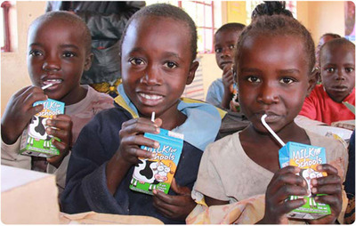 Milk boxes can be designed to carry messages promoting health and education. (PRNewsFoto/Tetra Pak and Milk Unleashed)