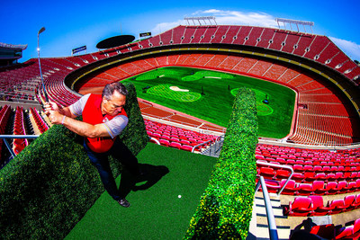 Stadiumlinks players will golf inside Globe Life Park as shown in this photo of a golfer teeing off inside Arrowhead Stadium earlier this year.