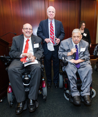 Paul J. Tobin -United Spinal CEO & President, Sen. John McCain, Terry Moakley -United Spinal Board Member.  (PRNewsFoto/United Spinal Association)