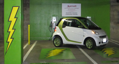 Hertz and Marriott Announce Game-Changing EV Car-Sharing Partnership; San Francisco Airport Marriott Waterfront and Downtown San Francisco First Launch Locations.  (PRNewsFoto/The Hertz Corporation)