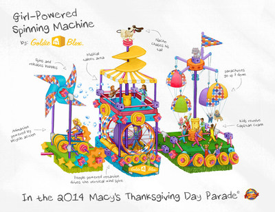 "The ""Girl-Powered Spinning Machine"" Float by GoldieBlox will appear in the 2014 Macy's Thanksgiving Day Parade!"