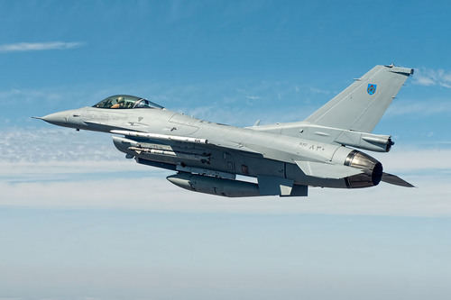 The newest Royal Oman Air Force F-16, built by Lockheed Martin, during pre-acceptance flight tests. The Royal ...