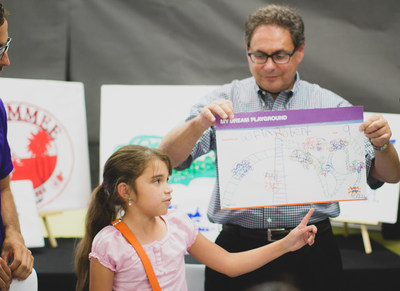 Sofia Robert, a student from Cypress Elementary School, stands with Wayne Norbitz, president of Nathan's Famous and explains her vision for the new playground which will be built in December (PRNewsFoto/Nathan's Famous)